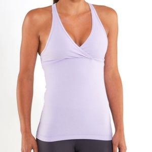 Lululemon Deep V Heathered Lilac Tank Top 6 Shirt